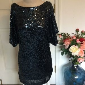 Cachet black sequined cold shoulder dress size 4